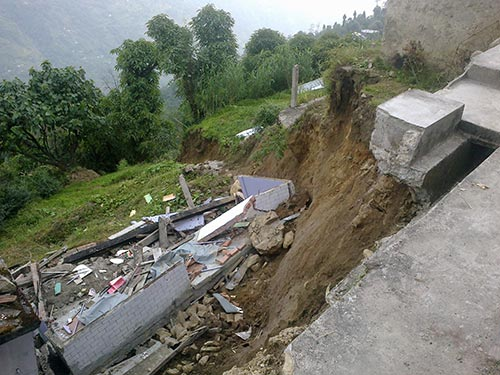 Colossal damage due to landsliding at Singhik in Darjeeling, Himalayas.