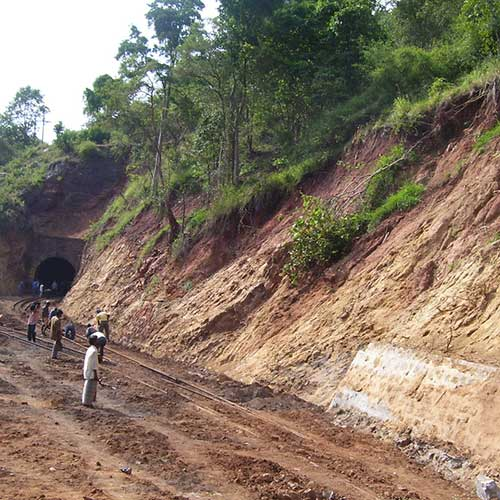 Cut slope failure along railroad causing damage to railway track
